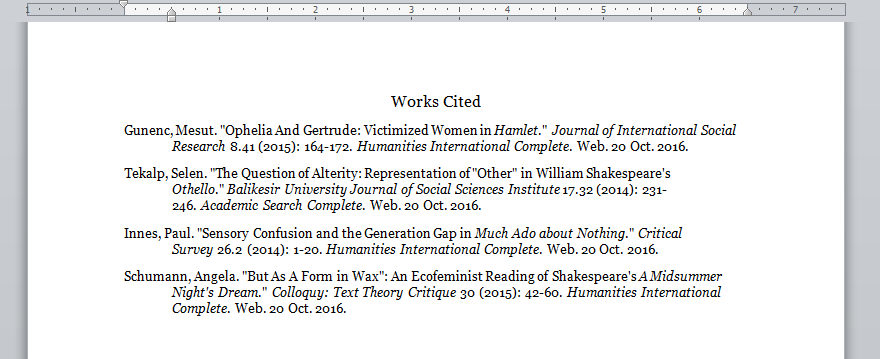 othello essay works cited page like this